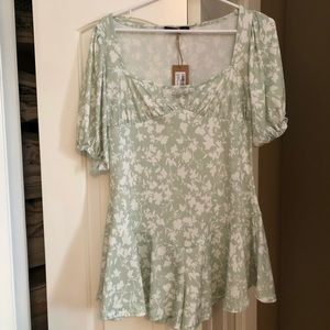 Beautiful Sage Floral Romper